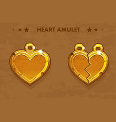Cartoon golden heart love vector