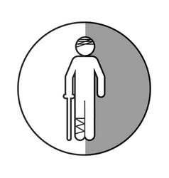 Circular frame shading with pictogram bandage vector