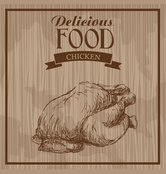 Delicious food chicken hand drawn poster vintage vector