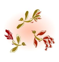Fairy glass birds and flowers eps10 vector