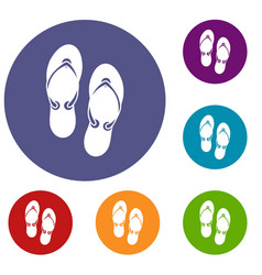 flip flop sandals icons set vector image