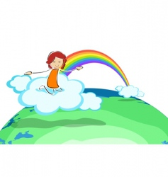 girl on cloud with rainbow vector image vector image