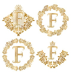 Golden letter f vintage monograms set heraldic vector
