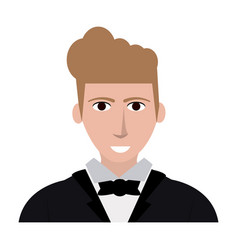 Handsome young man in suit icon image vector