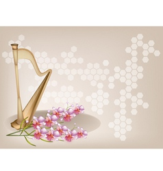 Harp Orchid Brown Background vector image