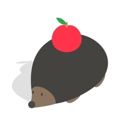 Hedgehog with apple icon isometric 3d style vector