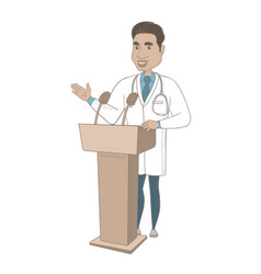 Hispanic doctor giving a speech from tribune vector