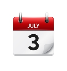 July 3 flat daily calendar icon date and vector