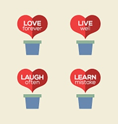 Love live laugh learn heart plants vector