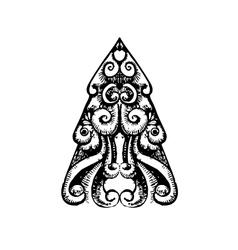 Ornamental christmas tree sketch vector