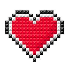pixel heart red vector image vector image