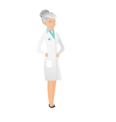 Senior caucasian doctor in medical gown laughing vector