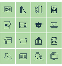 Set of 16 education icons includes measurement vector
