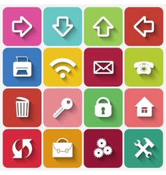Set of Flat Square Buttons with Office Theme Icons vector image
