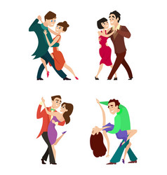 set of modern dancing young couples vector image vector image