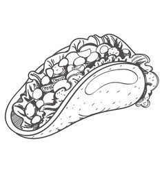 taco logo traditional mexican cuisine coloring vector image vector image