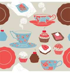 Tea and cupcakes Seamless pattern vector image vector image