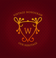 Vintage monogram template design vector