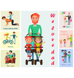 We love dad poster with children s wishes vector