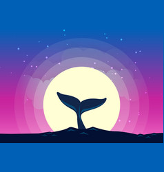 Whale tail dives into the sea background of the vector