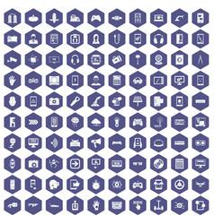 100 gadget icons hexagon purple vector