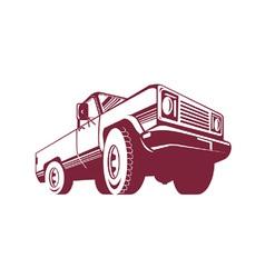 Pickup Truck Rear Retro vector image