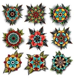 Old school tattoo flowers set vector image