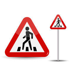 road sign warning in red triangle man at vector image