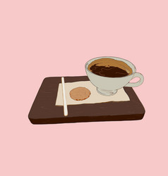 Hot coffe with cookie on wood tray sketch vector