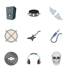 rock music concert icons set cartoon style vector image