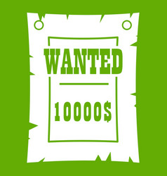 vintage wanted poster icon green vector image