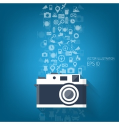 Bacground with flat photo camera icon and travel vector