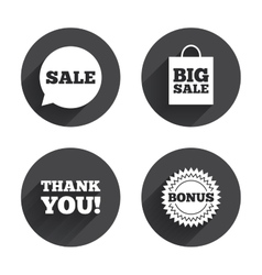 Sale speech bubble icon thank you symbol vector