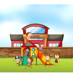 Children playing at school playground vector