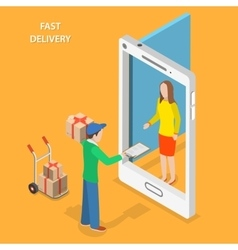 Fast delivery flat isometric concept vector