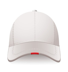 White sports cap with red label and room for your vector