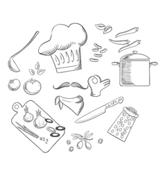 Chef preparing vegetarian salad sketch icons vector