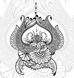 Mehndy flowers tatoo template vector