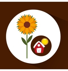 Farm countryside garden sunflower design vector