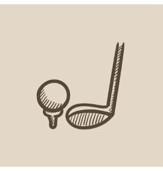 Golf ball and putter sketch icon vector