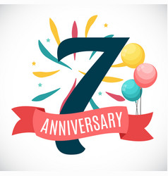 Anniversary 7 years template with ribbon vector