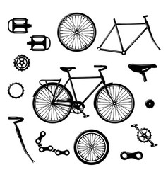Bike parts bicycle equipment and components vector