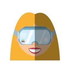 Blonde girl virtual reality glasses technology vector