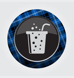 button blue black tartan-carbonated drink straw vector image