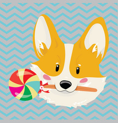 cartoon portrait of smiling dog with candy vector image