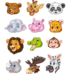 Cartoon wild animal head collection vector image