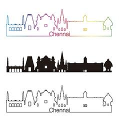 Chennai skyline linear style with rainbow vector