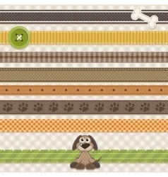 Collection of cute ribbons with cartoon dog vector image vector image