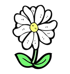 comic cartoon flower symbol vector image vector image