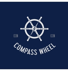 Compass steering wheel symbol icon or logo vector